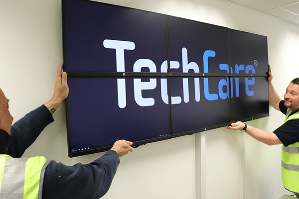 TechCare tv screens being installed at our Head Office in Rugeley, Staffordshire